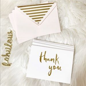 Kate Spade gold embossed thank you cards envelopes